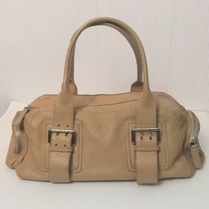 Furla Tan Leather Satchel Bag Pebble Finish